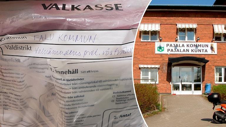 Valkassar med 145 falubors röster samt Pajalas kommunhus.
