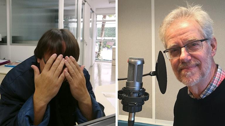 Till vänster en man som gömmer ansiktet i händerna, till höger en ansiktsbild på en man som tittar in i kameran.