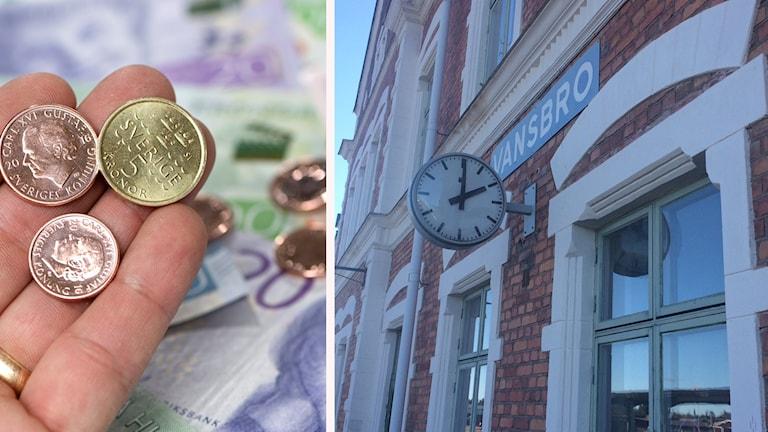 En bild på en Vansbro-skult på tågstationen och pengar. Montage.