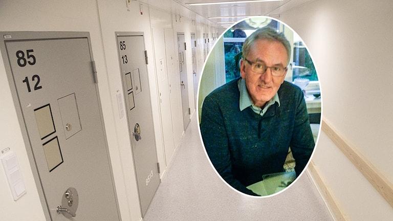 En bild på häktespastorn Ingvar Karlsson över en bild på en häkteskorridor.