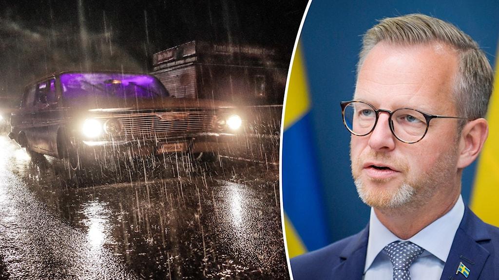 En bil kö i regn och Sveriges inrikesminister Mikael Damberg (S).
