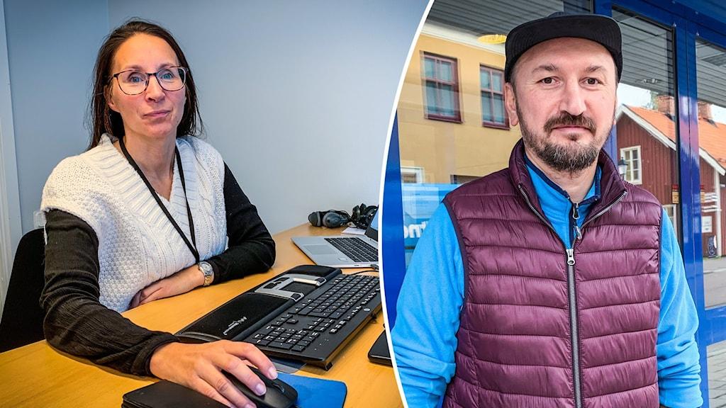 En kvinna vid en dator och en man med keps.