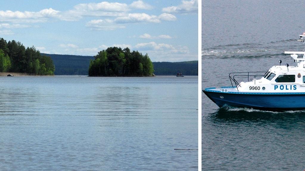 Runn och en polisbåt