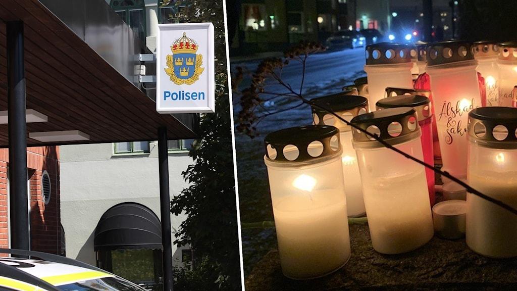 Gravlyktor vid en plats i Borlänge där en man hittades allvarligt skadad under natten mot lördag. Han avled senare av sina skador.
