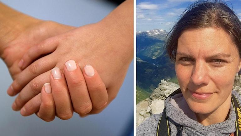 En bild på två händer i varandra, samt en bild på en kvinna med berg i bakgrunden.