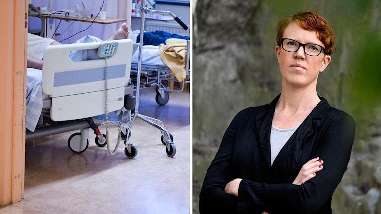 En sjukhussäng och RFSL:s förbundsordförande Frida Sandegård.