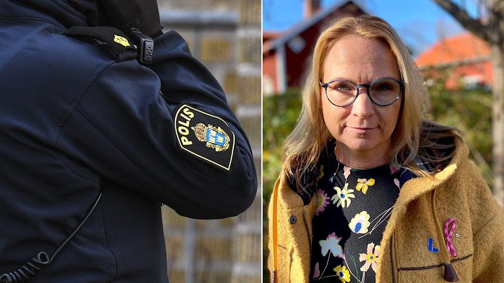 Bilden till vänster: Polisuniform  Bilden till höger: En kvinna med blont hår och glasögon, som ser allvarligt in i kameran. I bakgrunden röda hus och några gröna buskar.