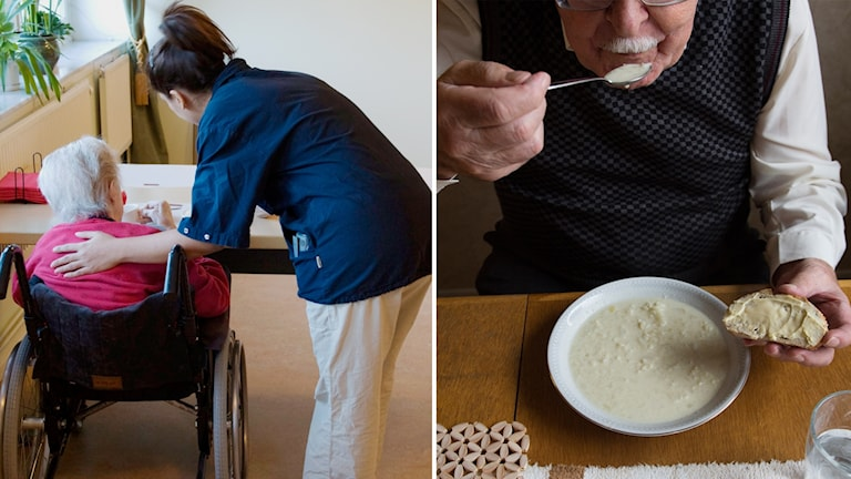 Äldre personer äter