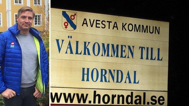 Lars Isacsson och en skylt med Välkommen till Horndal.