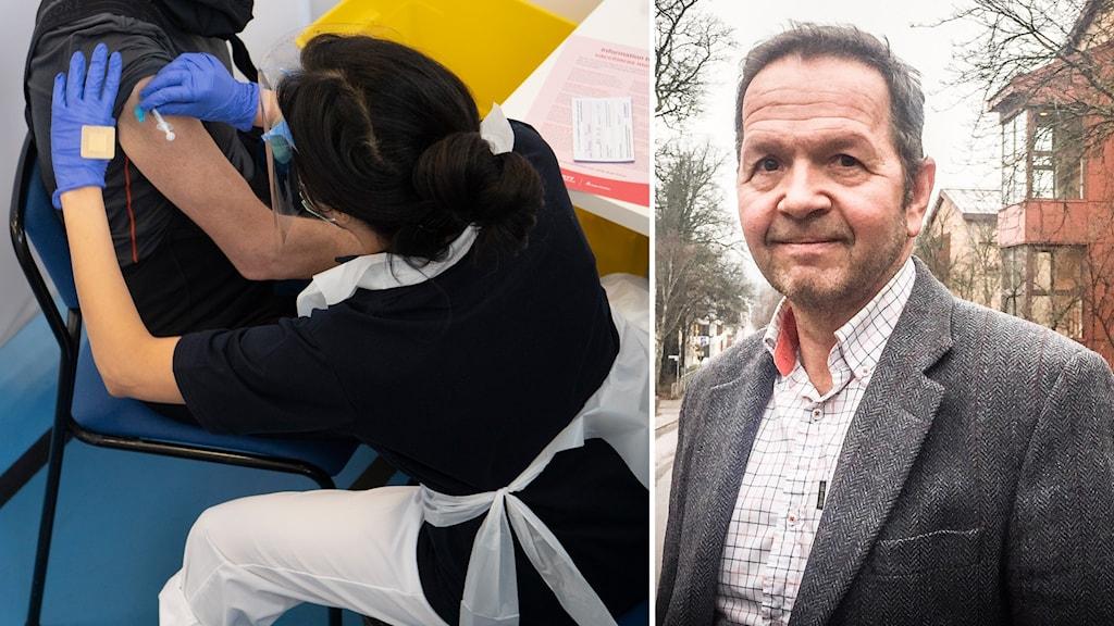 En man i kavaj och en infälld bild på en person som får en vaccinspruta.