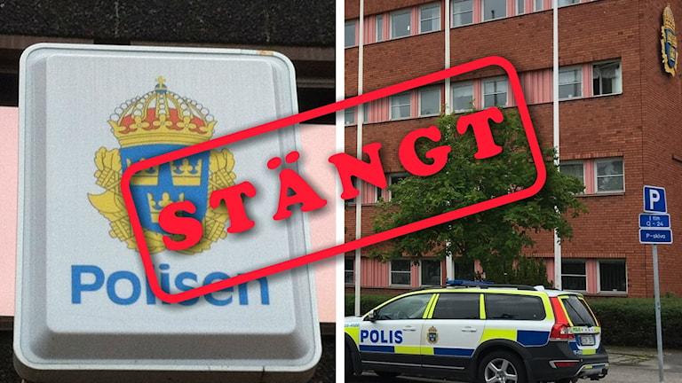 Två bilder från polishus och en skylt där det står stängt