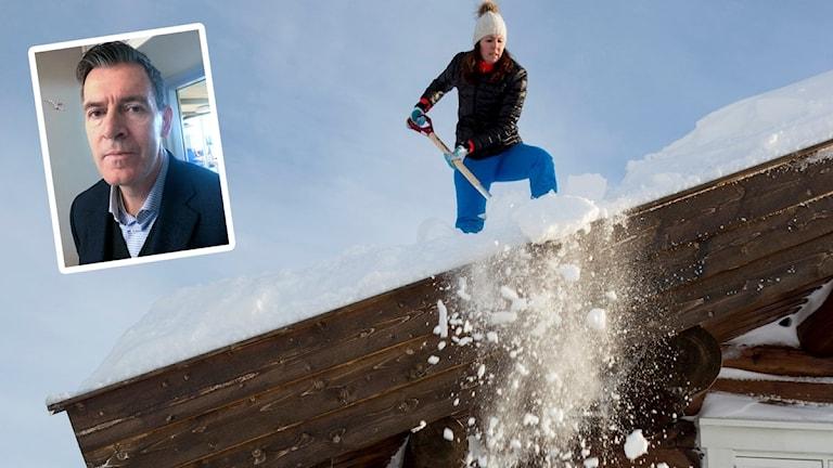Kvinna skottar snö från ett tak. Infälld i bild Ola Berglund.