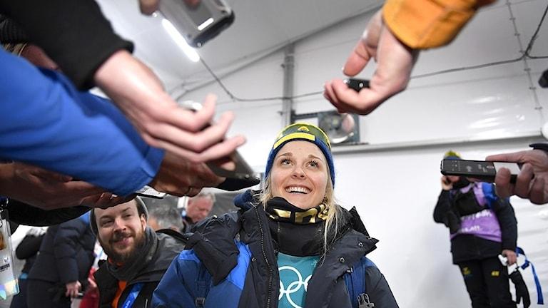 Stina Nilsson, längskidåkare, intervjuer, OS-guld