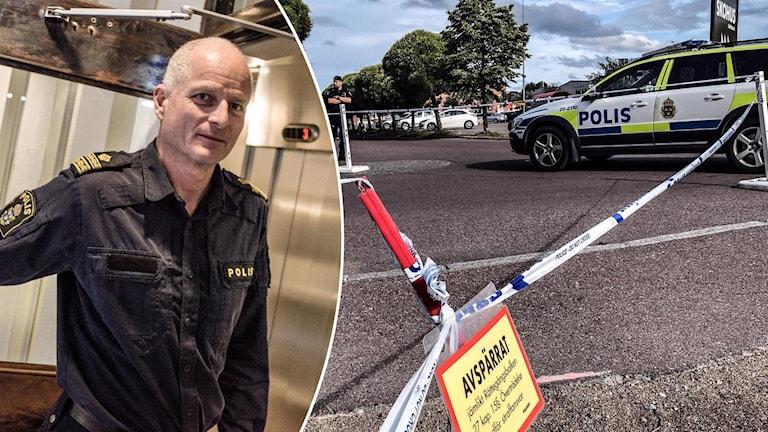 Mats Lagerblad, polisområdeschef, och avspärrningsband vid platsen för dödsskjutningen vid Kupolen i Borlänge.