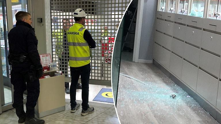 Krossat glas efter att Guldfynd i Falun utsatts för en grov stöld.