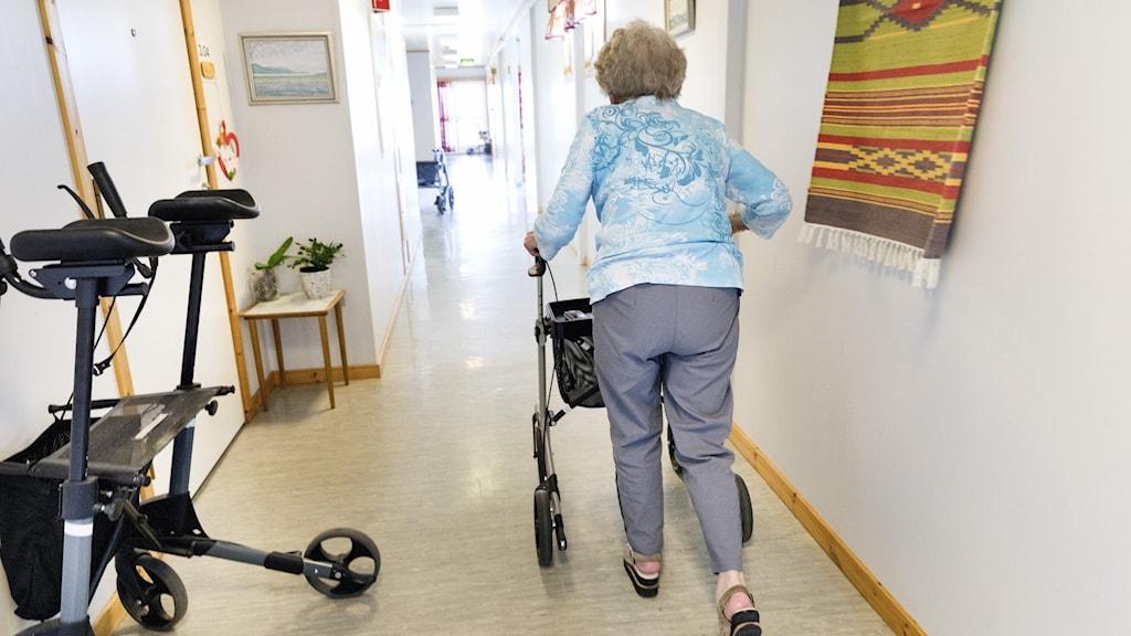 En äldre person med rullator går i en korridor.