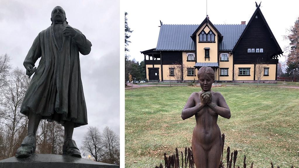 Anders Zorn som staty i Mora och staty framför Zorngården i Mora