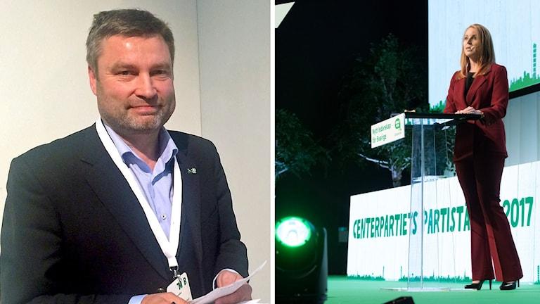 Peter Helander, centerpartiets ordförande i Dalarna, och partiledaren Annie Lööf på Centerpartiets partistämma.