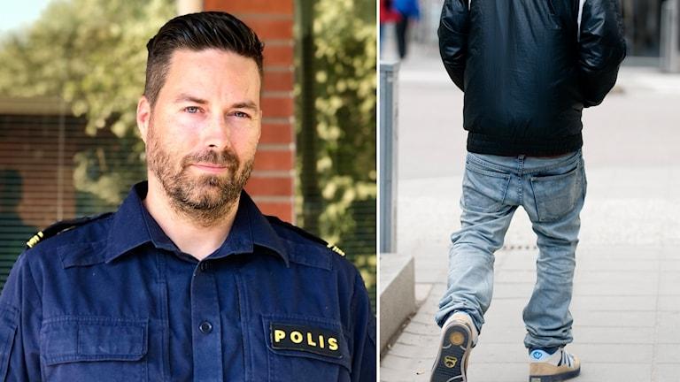En man med svart hår och skägg i en polisuniform och en infälld bild på en ungdom bakifrån.