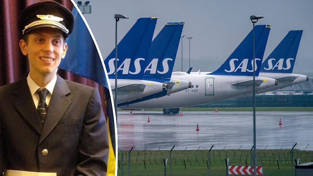SAS-flygplan på regnig flygplats. Infälld glad man i pilotmössa.