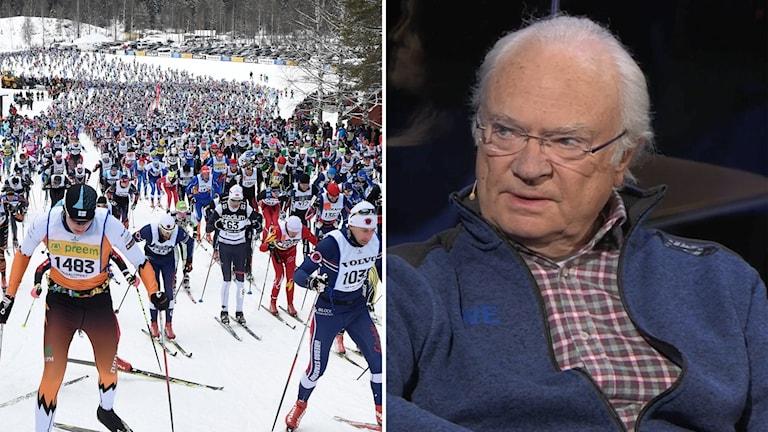 Kung Carl XVI Gustaf kallar Vasaloppet dötrist i Vinterstudion på SVT2