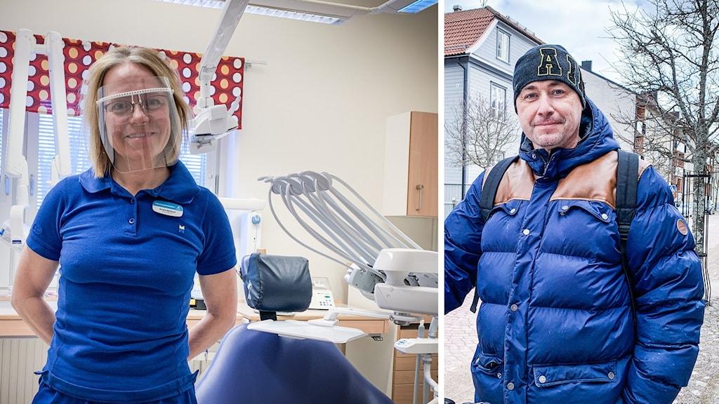 En kvinna i blå kläder och visir i ett tandläkarrum samt en man med mössa och jacka utomhus.