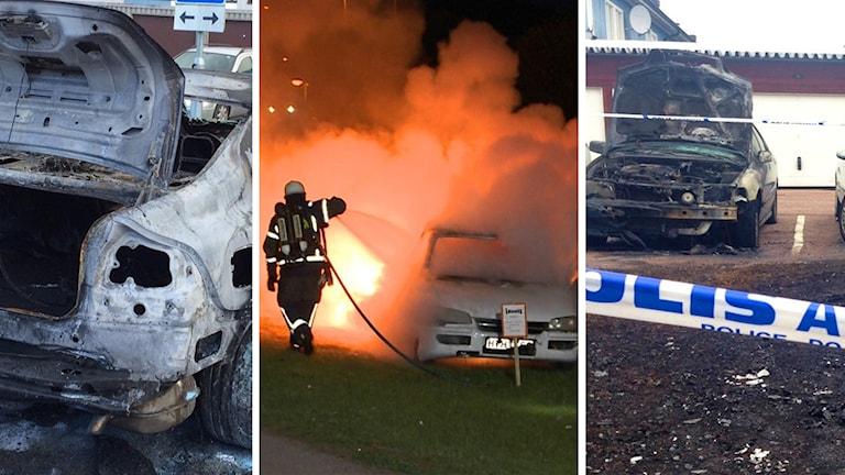Flera bilder där bilar brinner