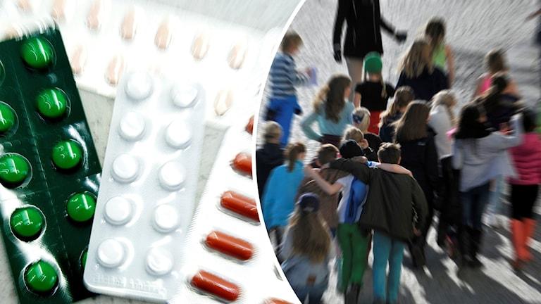 Pillerkartor och en grupp med barn