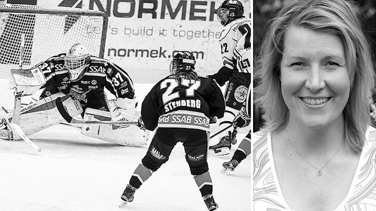 Hockeyspel samt bild på Malin Karlsson, spelare och tränare i Mora IK:s damlag.