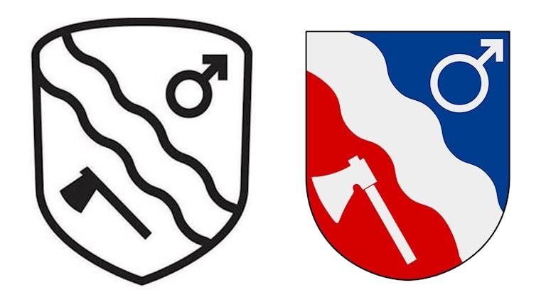Borlänge kommuns nya och gamla kommunvapen.