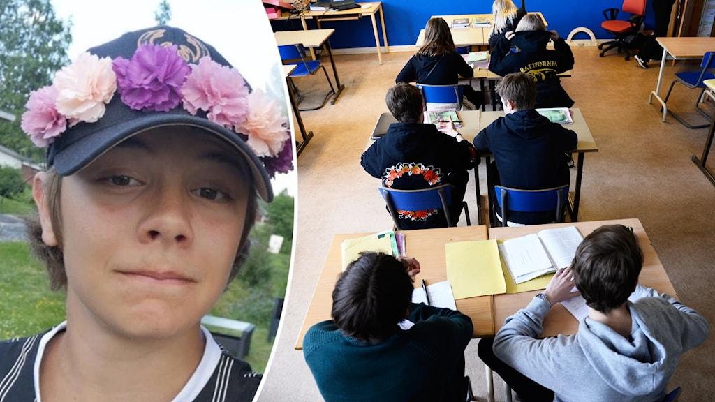 En pojke med en kaps och en infälld bild på ett klassrum.