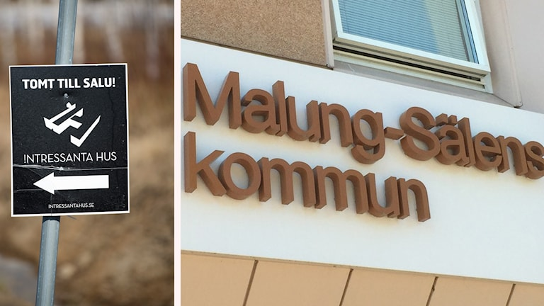 Skylt med tomt till salu och bild från Malung-Sälens kommunhus