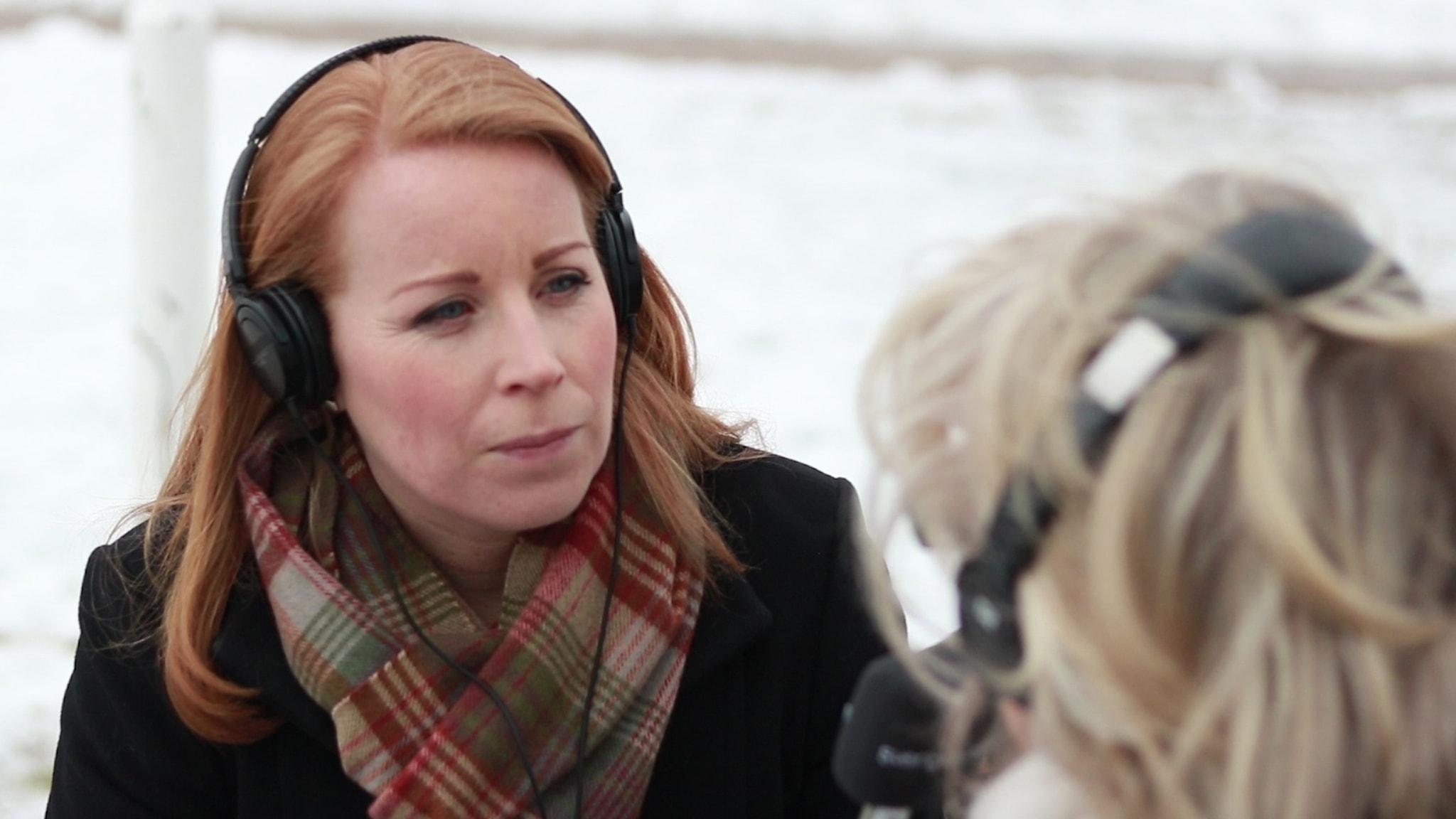 Annie Lööf intervjuas.