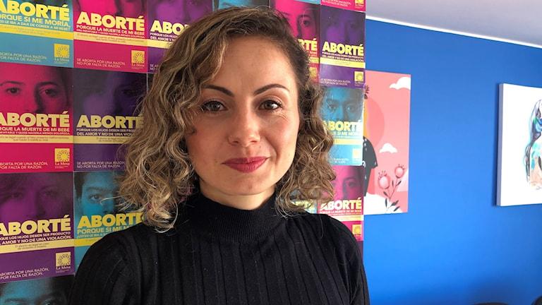 Angela Mateus är ordförande för organisationen La Mesa para la Vida y la Salud de las Mujeres som förespråkar fri abort.