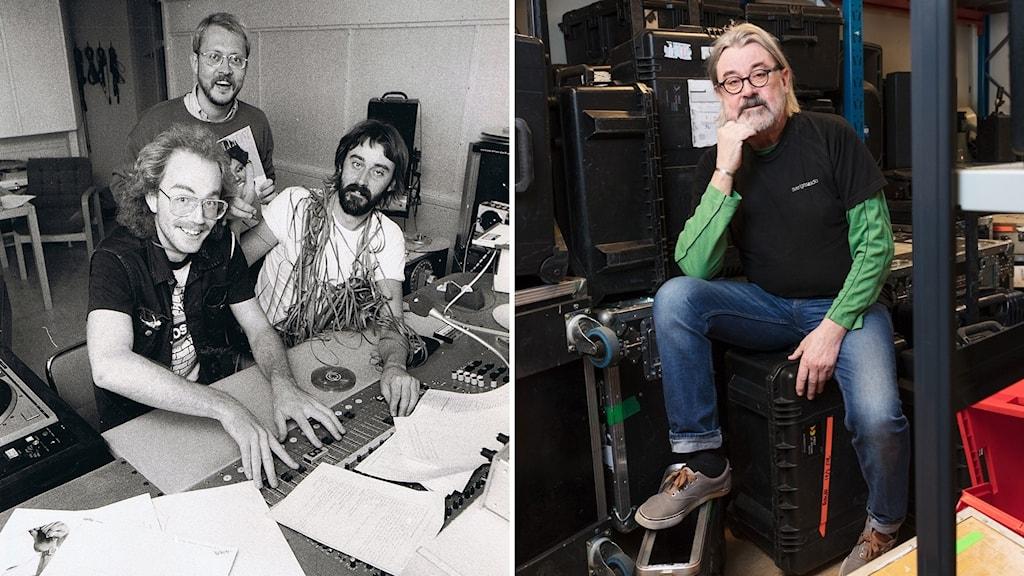 Bildkollage: till vänster, tre män sitter och står framför ett mixerbord. Till höger, Bo Skogis Skoglund sitter framför teknisk utrustning