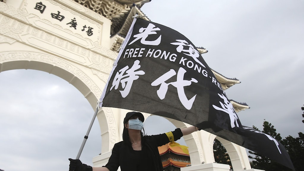 Protester för Hong Kong i Taiwan.