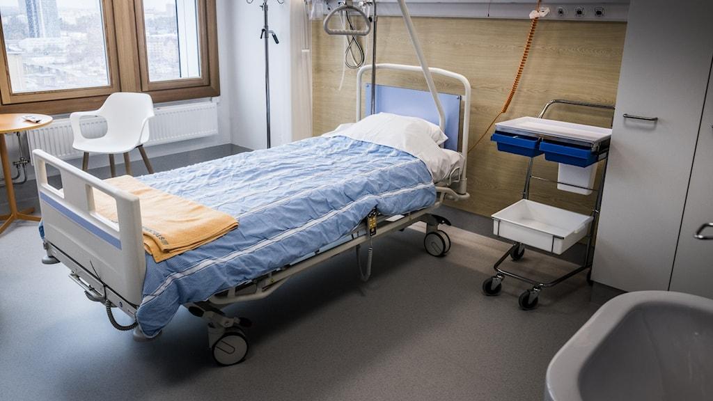 En sjukhussäng.