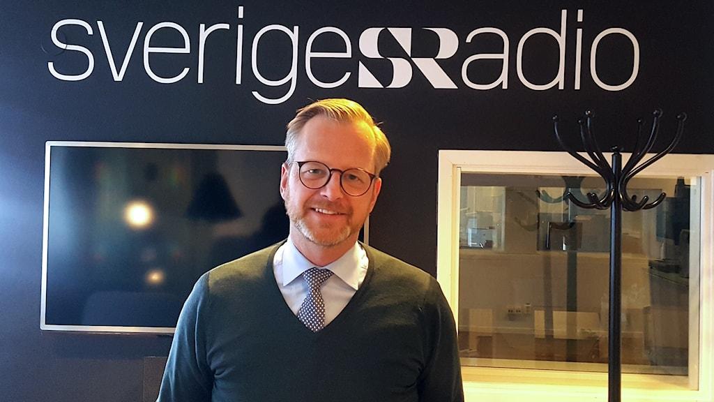 Mikael Damberg (S) vid sin medverkan i Studio Ett.