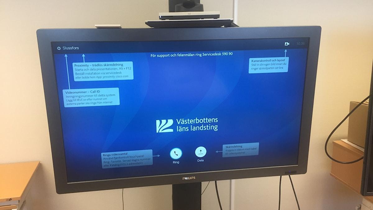 Videolänk teknik i det digitala vårdrummet i Slussfors i Västerbotten.