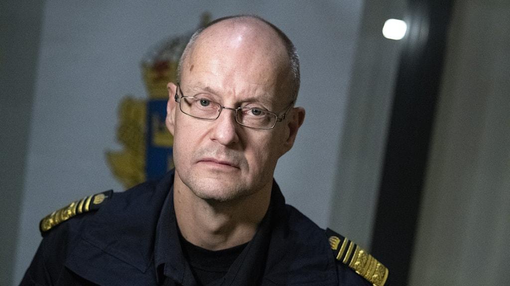 Mats Löfving, chef nationella operativa avdelningen (NOA), fotograferad under en intervju om Rimfrost på Rättscentrum i Malmö.