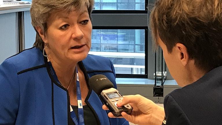 Andreas Liljeheden och EU kommissionär Ylva Johansson.