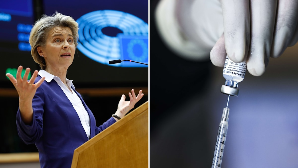 Till vänster: Ursula von der Leyen, ordöfrande i EU-kommissionen. till höger: en spruta och en dos coronavaccin.