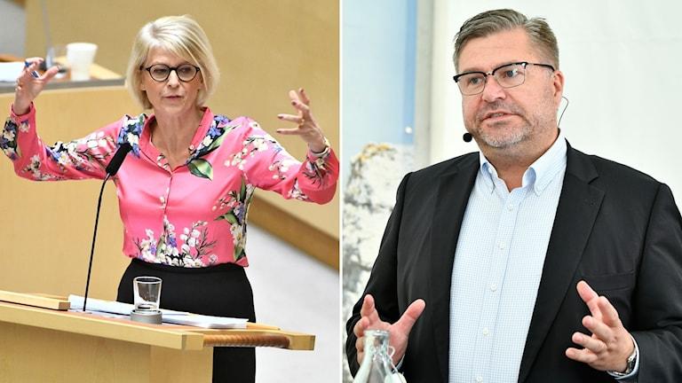 Moderaternas ekonomiske talesperson Elisabeth Svantesson (M) och Arbetsförmedlingens generaldirektör Mikael Sjöberg.