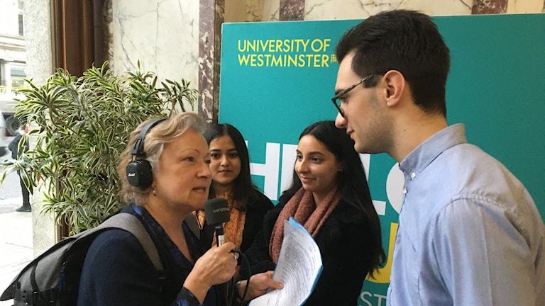 George Perfect, Saman Haque och Kinkini Battacharya intervjuas av Anna Hernek
