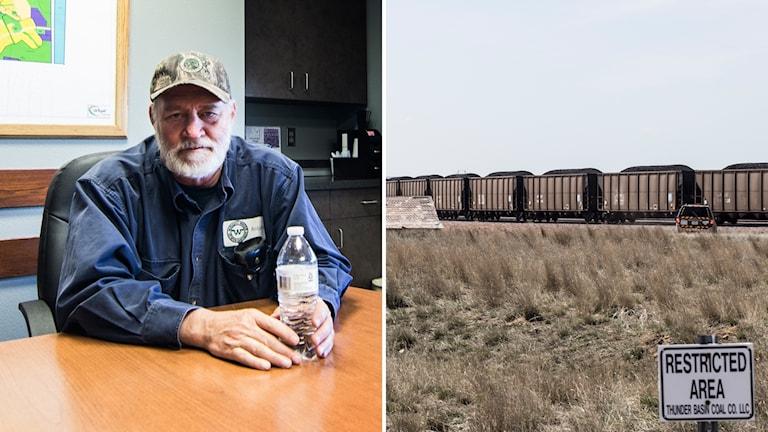 Bildkollage med Ralp Kingan och ett tåg lastat med kol.