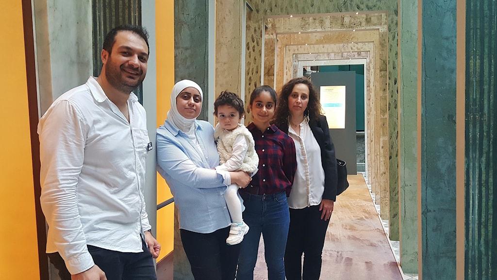 Lusian Alassaf, Samah Alwarad och två av hennes barn och Khouzama Rasheed på Medelhavsmuseet.