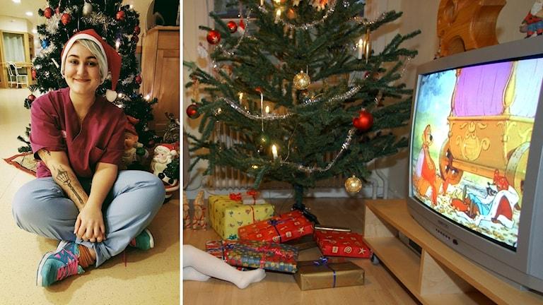 Kollage med Elin Högye framför en julgran och en bild på en tv-apparat.