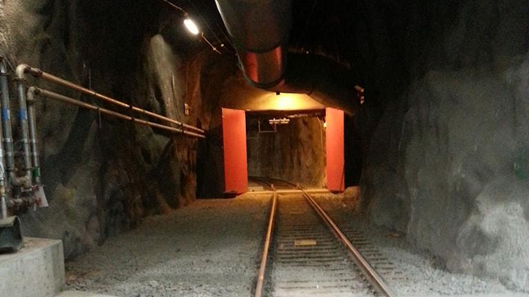 Järnväg. 1365 metersnivån. LKABs Kirunagruva.