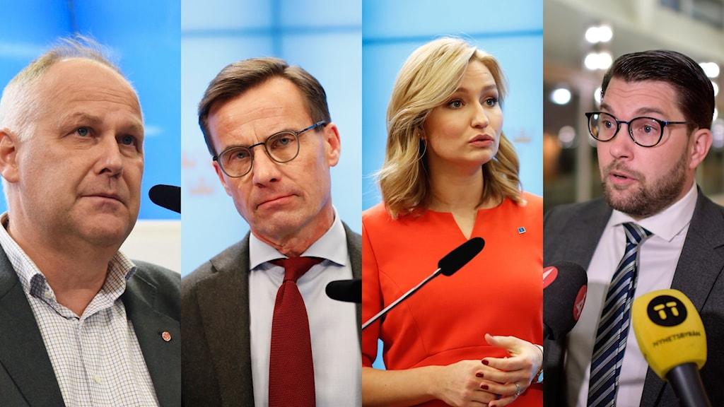 Vänsterpartiets partiledare Jonas Sjöstedt, Moderaternas partiledare Ulf Kristersson, Kristdemokraternas partiledare Ebba Busch Thor och Sverigedemokraternas partiledare Jimmie Åkesson.