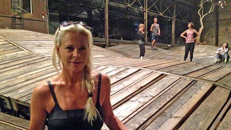 Malena Ernman repetiterar Xerxes. Foto: Sally Henriksson/Sveriges Radio